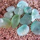 11 Genuine Beach Sea Glass AQUA Jewelry Gems Turquoise