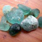 8 GENUINE BONFIRE MELTED Sea Beach Glass AQUA  BLUE