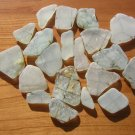 "20 Genuine Sea Beach Glass WHITE METAL WIRE ""security"""