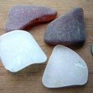 4 Genuine Beach Sea Glass BROWN AMBER WHITE