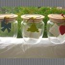 ITALIAN GLASS WOOD SET 3 JAR canister LEGNOMAGIA NEW  L