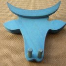 NEW WOOD BULL ANIMAL HOOKS BLUE BY LEGNOMAGIA ITALY