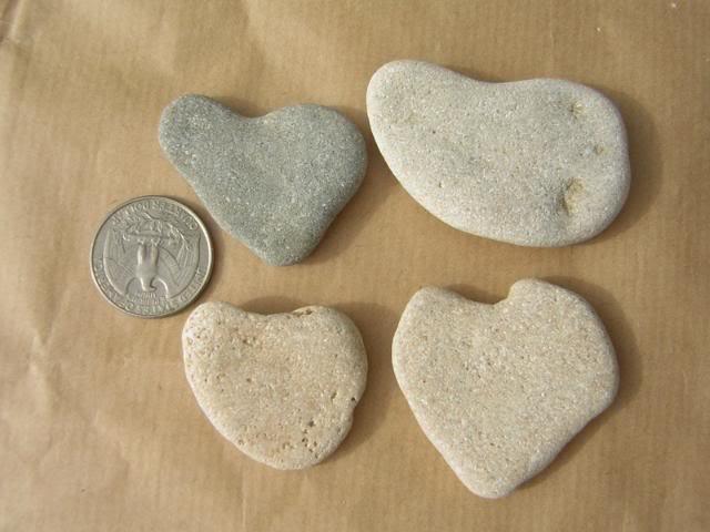4 Natural Heart Stones Pebble Beach Sea LOVE Rocks