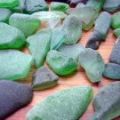 81 GENUINE BEACH SEA GLASS GREEN LOT SURF TUMBLED