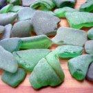 47 GENUINE BEACH SEA GLASS GREEN LOT SURF TUMBLED