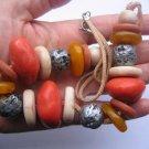 Retro Vintage 70's Orange Cream Plastic Bead Necklace