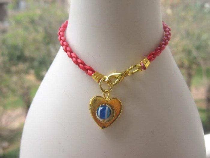 Red Bracelet String golden Heart w/Evil Eye Kabbalah