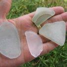 4 Genuine Beach Sea Glass Bottle Bottom Aqua White zb