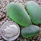 3 FLAWLESS Old Genuine Beach Sea Glass GREEN Jewelry
