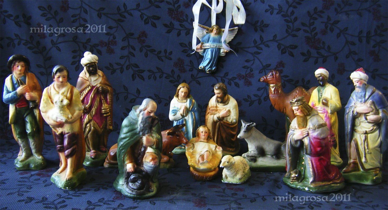 Antique Plaster Creche Nativity