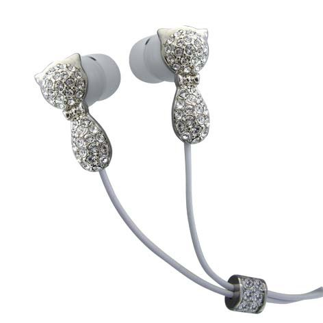 Cat Clear Crystals Stainless Steel Jewelry Earphones Earbuds + iPhone Adapter