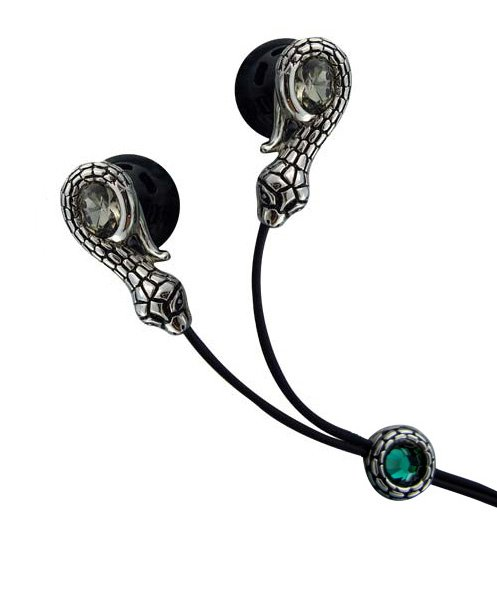 Snake Shaped Gothic Clear Crystal Stainless Steel Jewelry Earphones + iPhone Adapter