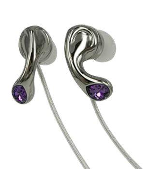 Elegant Purple Crystal Stainless Steel Jewelry Earphones Earbuds + iPhone Adapter
