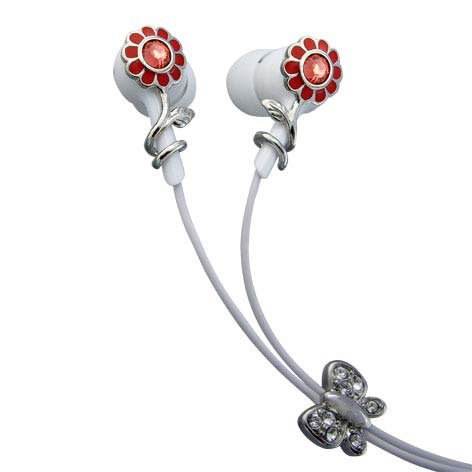 Red Flowers Single Red Crystal Stainless Steel Jewelry Earbuds Earphones + iPhone Adapter
