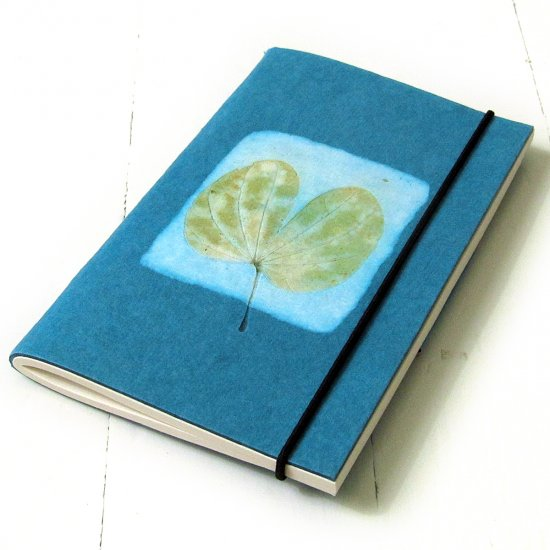 Mothersday note pad small recipe journal blank notebook handmade leaf imprint paper 3x5 40pp teal