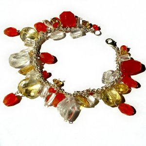 Bracelet 7in handmade carnelian gold topaz natural crystal semi precious stone beads 925 silver