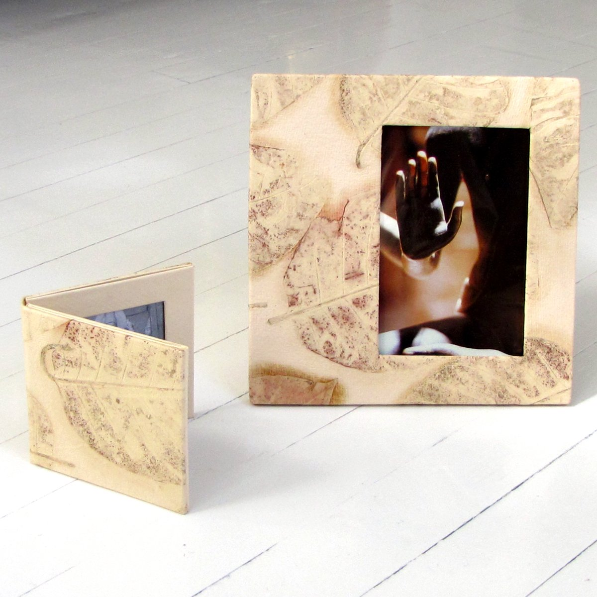 2 wedding photos frame set 4x4 and 8x8 handmade cream leaf imprint paper