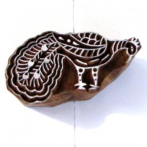 Stamping large 4in handmade peacock right wood block stamp printing. Left and right motif available