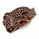Fish wood block printing stamping small 2in handmade wood block handicrafts India