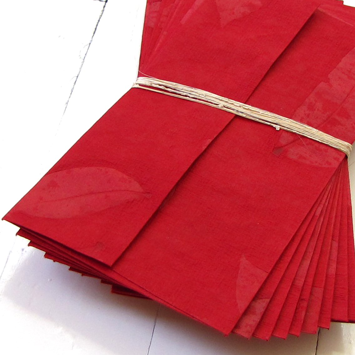 Writing paper set 10 dark red handmade recycled cotton leaf imprint paper