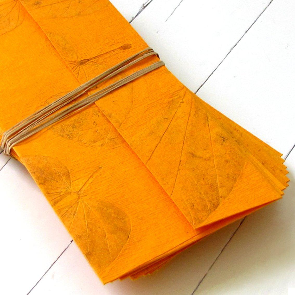Handmade letter paper set 10 recycled tree free stationery light orange