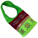 Bags shoulder hobo purses cotton canvas green bday mom xmas gifts/dark red embroidery 23x10x4.5