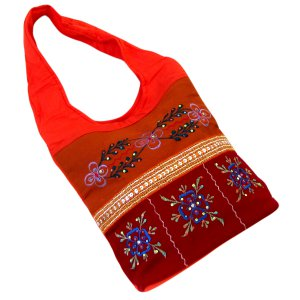 Handbag India bag gift ideas purses red/orange 100% cotton canvas embroidery sequins 23x10x4.5