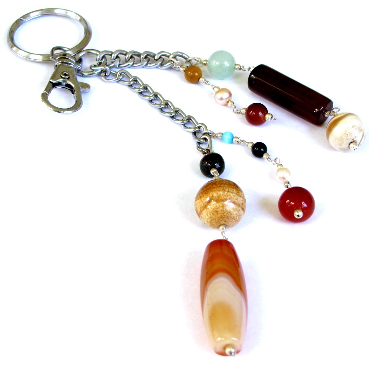 Keychains Mom gift ideas handmade key fob chain ring 4.5in mixed semi precious stones carnelian