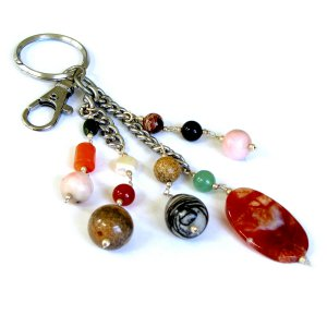 Christmas craft mom present gift handmade key ring fob chain natural semi precious stones 4.5in