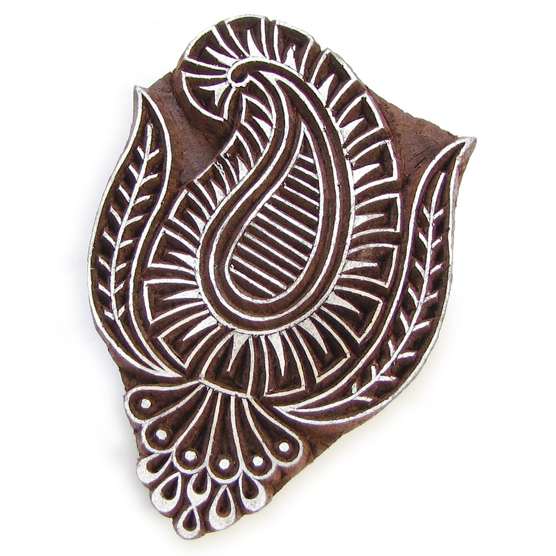 Ink stamp paisley4 large 4in handmade solid wood block stamping paper crafts Indian folk art