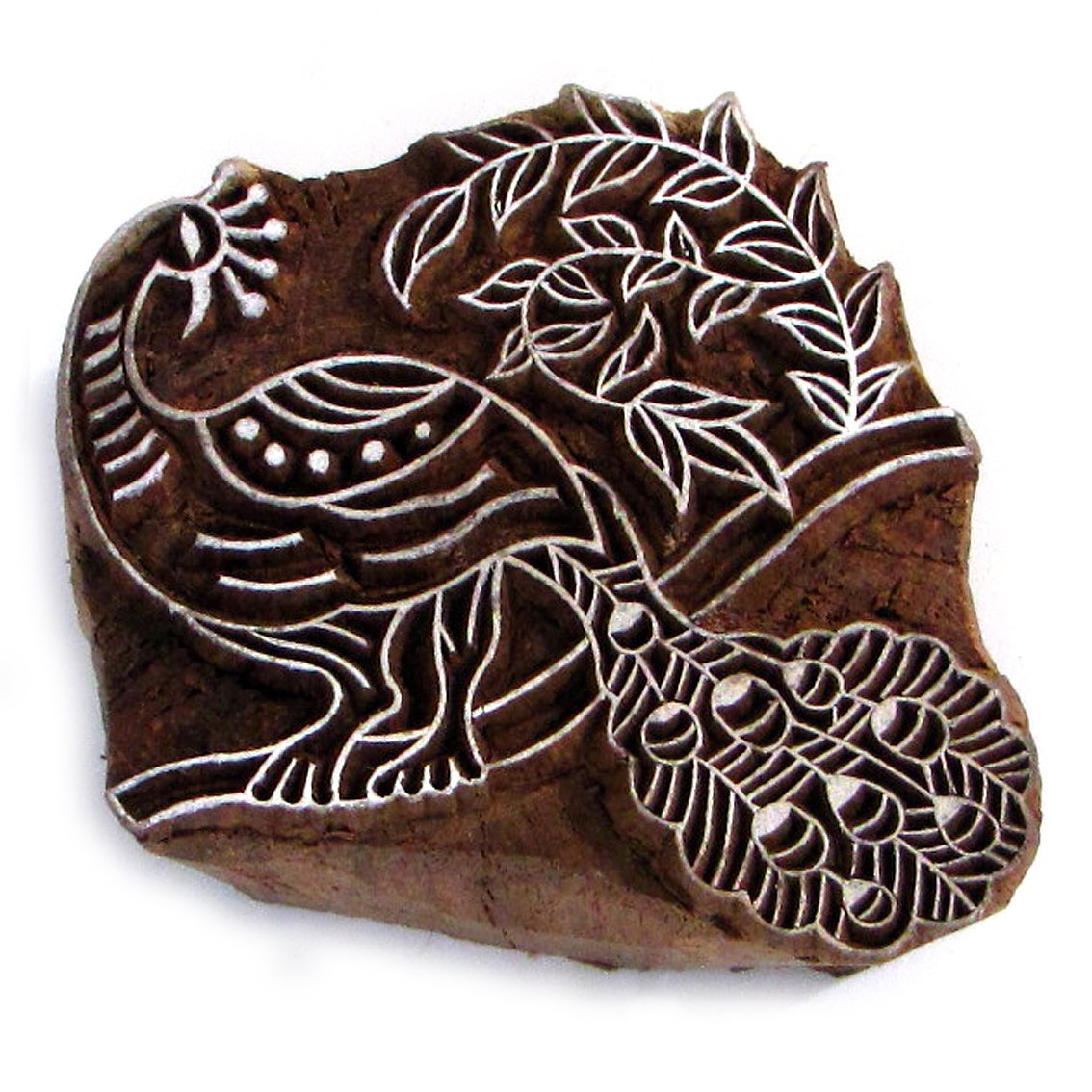 Stamp peacock in a tree left stamping large 4in solid wood block ink stamp paper craft