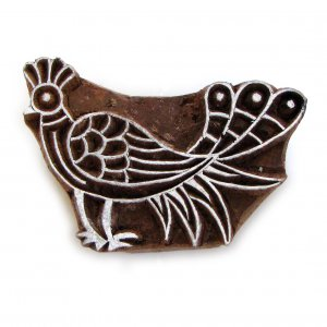 Stamp handmade wood block ink stamp large 4in blue bird paper craft stamping India folk art