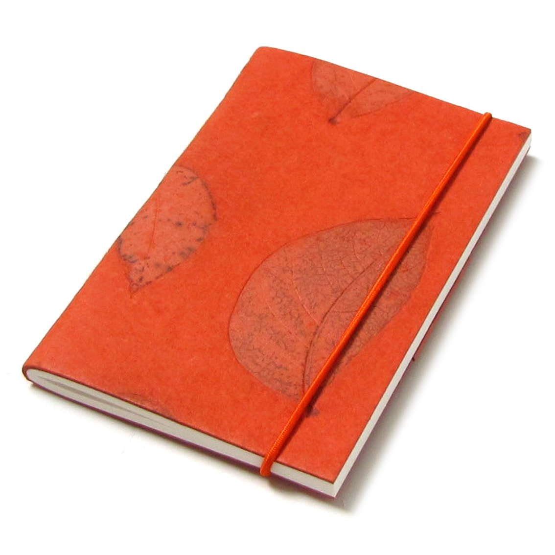 Writing journal small diary orange 3x5 40pp recycled ethical handmade paper stationery