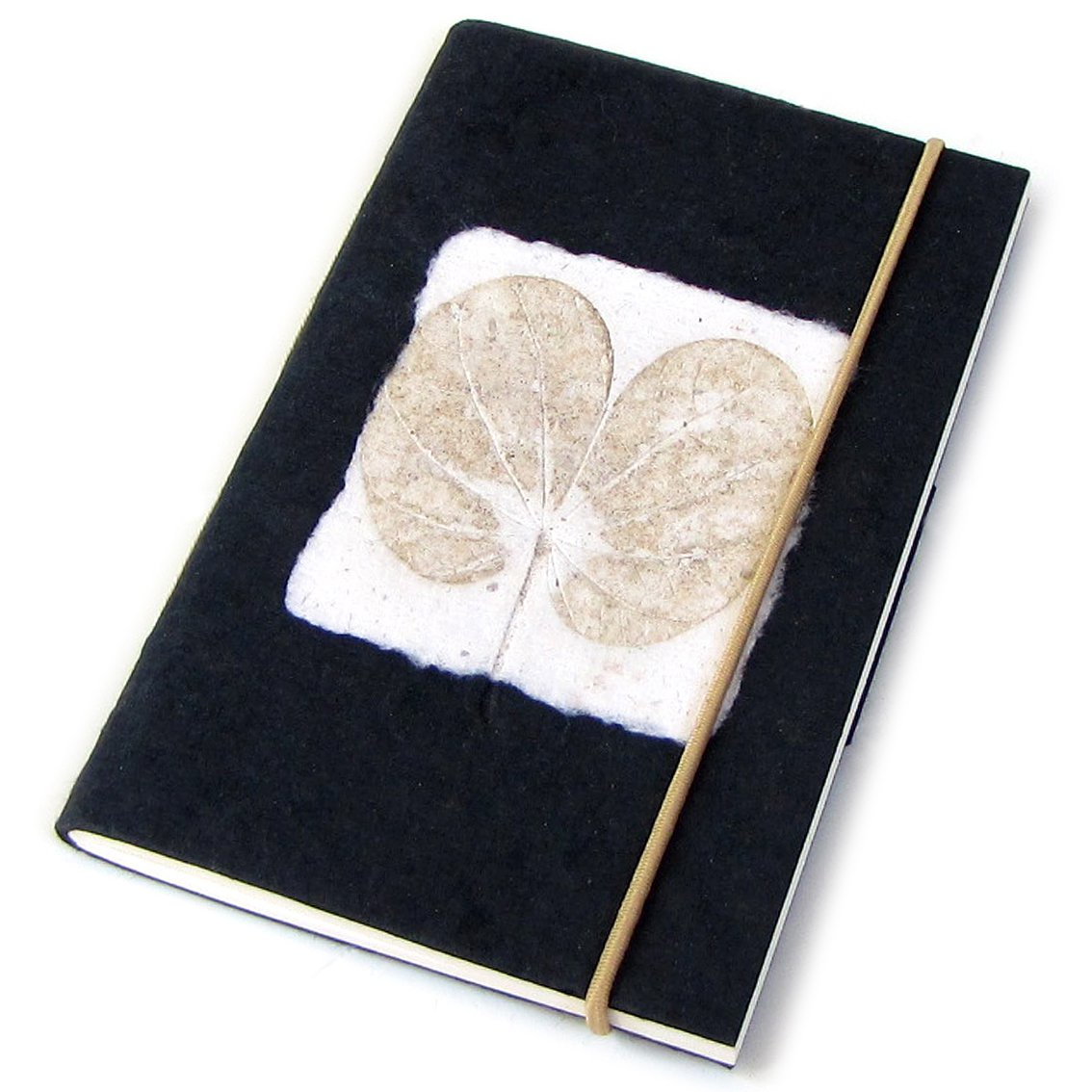 Notebook journal handmade recycled black heart leaf imprint paper crafts blank memo pad 3x5 40pp