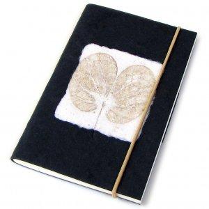 Notebook journal handmade recycled black heart leaf imprint paper crafts blank memo pad 3x5 40pp