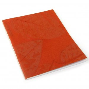 Sketching guest book notebook handmade recycled paper craft journals orange leaf 7x8 50pp