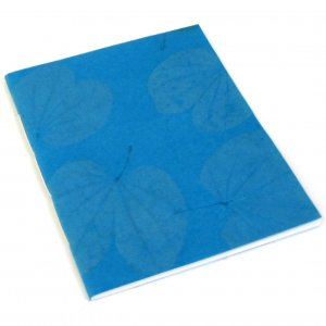 Journal guest book natural leaf diary sketching notebook handmade paper craft teal 7x8 50pp