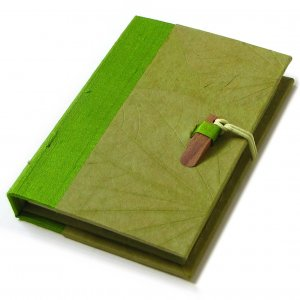 Memo note pad olive natural leaf imprint paper handmade hardcover silk spine 3.5x5in 100pp