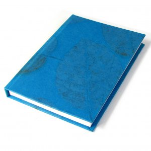 Journal diary hard cover teal handmade leaf imprint paper crafts 5x7in 104pp Xmas gifts