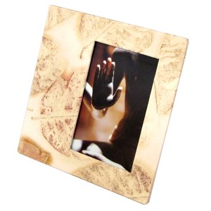 Picture frame wedding 4x6/5x7 handmade cream leaf imprint paper