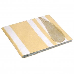 Handcrafted wedding photo album book 6x8 16pp natural leaf pale yellow handmade recycled paper