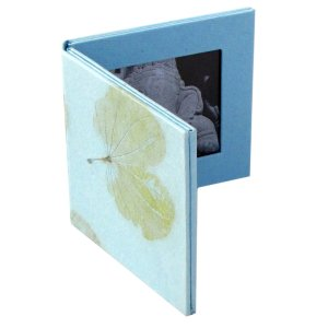 Baby frame shower Mom double handmade photo frame blue 2.5x2.5 natural leaf tree free paper