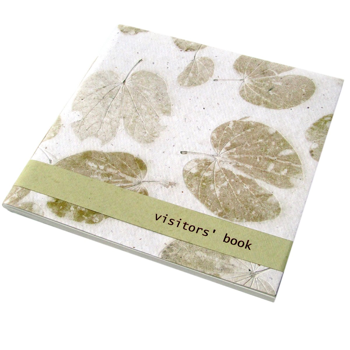 Handmade guest book 9.5x9.5 wedding 96pp white heart natural leaf paper green bday mom xmas gifts