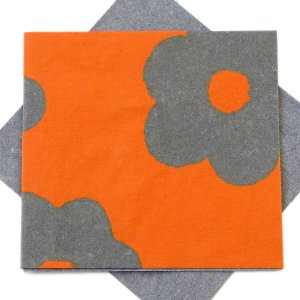 """Greetings thank you mom cards handmade recycled flower power orange/grey paper 5x5 1/2"""""""