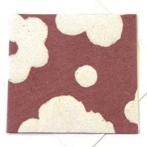 "Handmade greetings birthday card square 5x5 1/2"" eco friendly paper flower power tan"