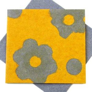 "Greetings card Mom 5x5 1/2"" handmade yellow/gray flower power tree free eco friendly paper craft"