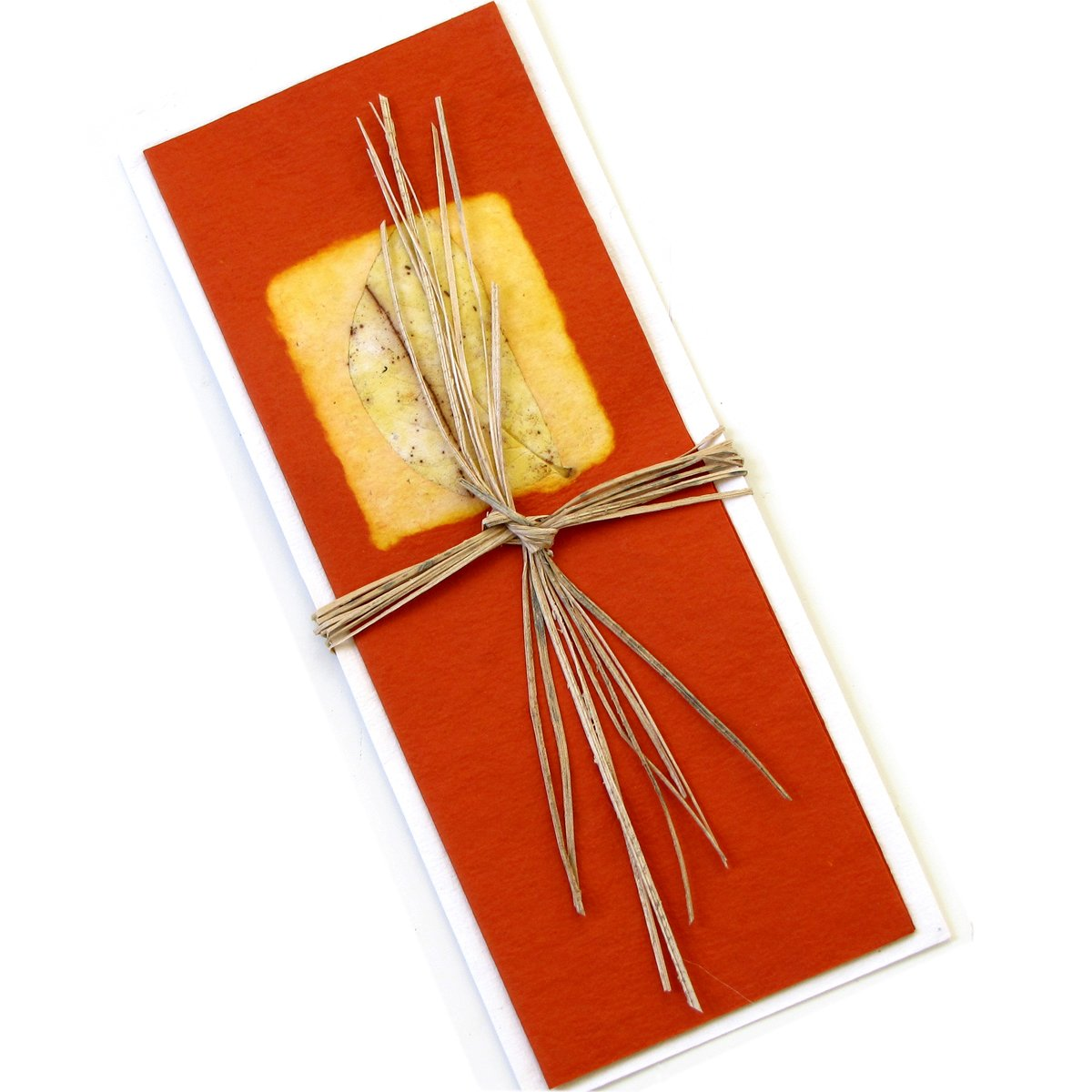 Handmade cards orange long 3x8 stationery greetings thank you mom card eco friendly cotton paper