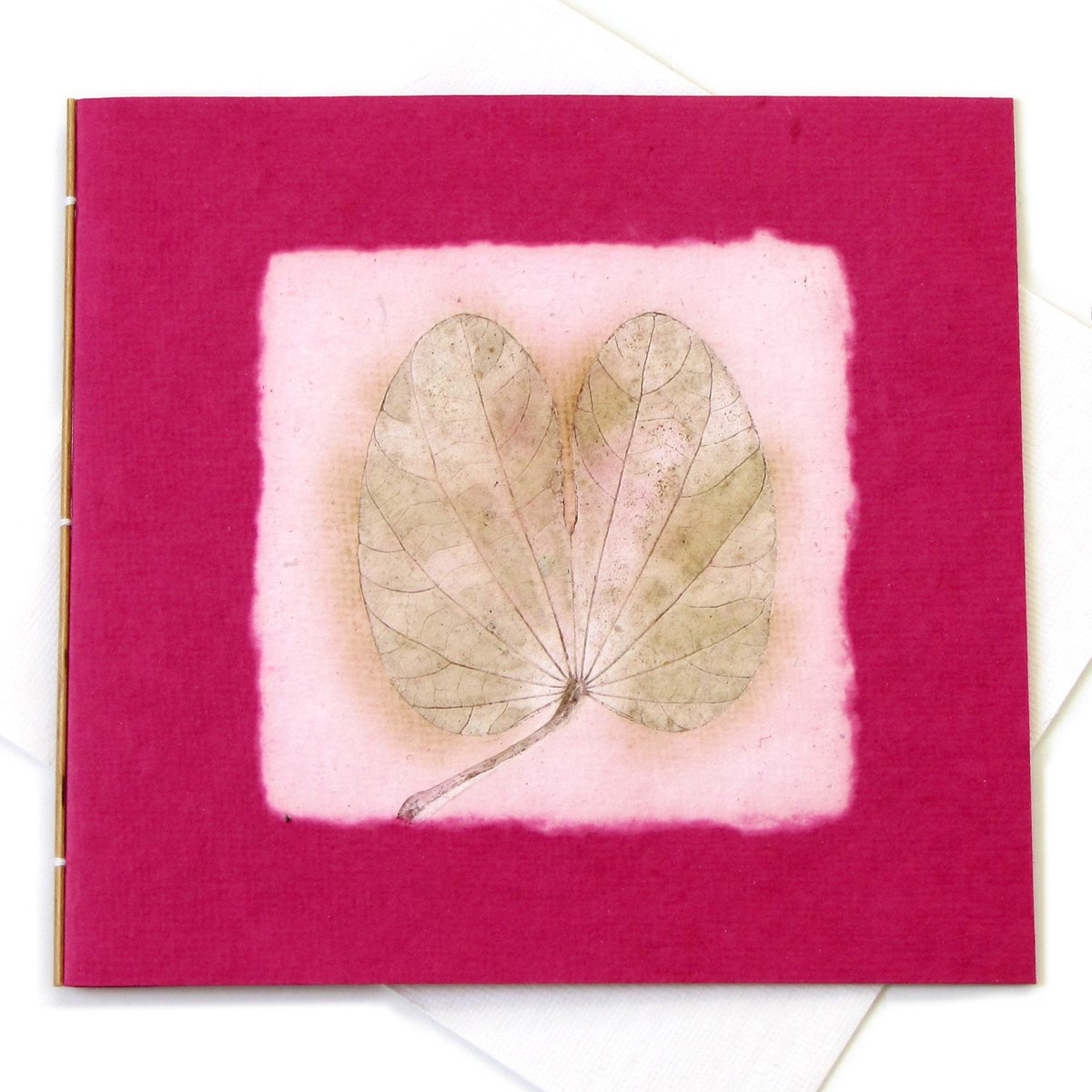 Tree free thank you mom cards eco friendly handmade paper pink heart leaf imprint 5x5 1/2