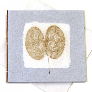 """Handmade cards 5x5 1/2"""" gray tree free leaf imprint paper thank you greetings card recycled Mom"""