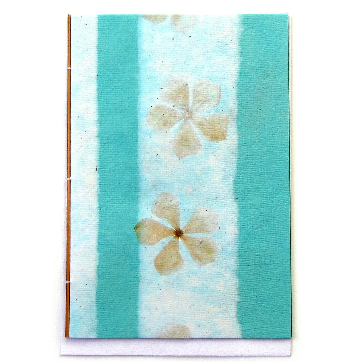 Eco friendly handmade greetings thank you mom cards handcrafted tree free aqua paper 5x7 flower